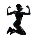 Woman runner jogger jumping powerful Stock Photography