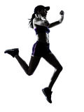 Woman runner jogger silhouette royalty free stock photo
