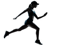 Woman runner jogger silhouette stock photos