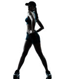 Woman runner jogger stretching silhouette royalty free stock photo
