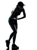 Woman runner jogger tired breathless Royalty Free Stock Photography