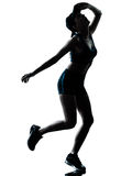 Woman runner jogger tired breathless silhouette. One caucasian woman runner jogger tired breathless in silhouette studio isolated on white background Stock Photo