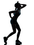 Woman runner jogger tired breathless silhouette stock image