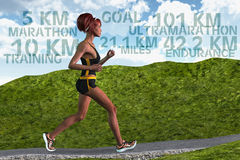 Woman Runner Marathon Running Training Endurance Sports Stock Image
