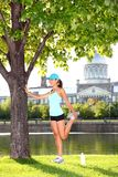Woman runner in Montreal stock photos