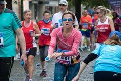 Woman runner at the Prague International Marathon Royalty Free Stock Image