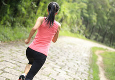 Woman runner running at forest trail Stock Images