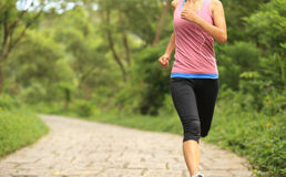 Woman runner running at forest trail Royalty Free Stock Photos