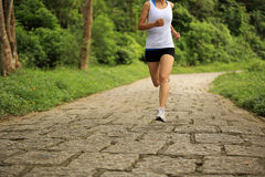 Woman runner running at forest trail Royalty Free Stock Photo