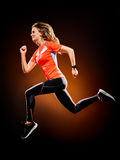 Woman runner running jogger jogging isolated Stock Image