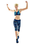 Woman runner running jogger jogging isolated white background Stock Photography