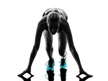 Woman runner running jogger jogging silhouette Stock Image
