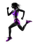 Woman runner running jogger jogging silhouette. One caucasian woman runner running jogger jogging in studio silhouette isolated on white background stock photo