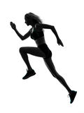 Woman runner running jogger jogging silhouette. One caucasian woman runner running jogger jogging in studio silhouette isolated on white background stock photos