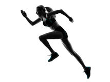 Woman runner running jogger jogging silhouette. One caucasian woman runner running jogger jogging  in studio silhouette isolated on white background Royalty Free Stock Photo