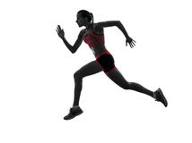Woman runner running jogger jogging  silhouette Stock Images