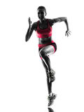 Woman runner running jogger jogging silhouette royalty free stock photos