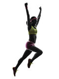 Woman Runner Running Jumping  Shouting Silhouette Stock Photo