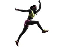 Woman runner running jumping  shouting silhouette. One woman runner running jumping shouting in silhouette on white background Royalty Free Stock Photos