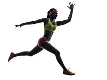 Woman runner running jumping  silhouette Royalty Free Stock Photography