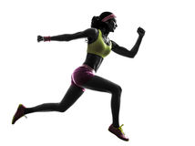 Woman runner running jumping  silhouette Royalty Free Stock Images