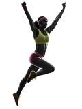 Woman runner running jumping  silhouette Stock Photo