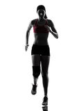 Woman runner running marathon silhouette Royalty Free Stock Photography