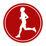 Woman runner running marathon. Sports sign icon woman runner running marathon Royalty Free Stock Images