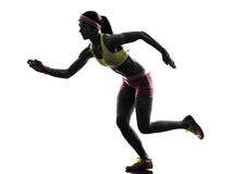 Woman runner running silhouette Royalty Free Stock Photography