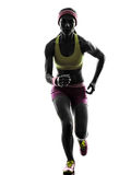 Woman runner running silhouette Royalty Free Stock Images