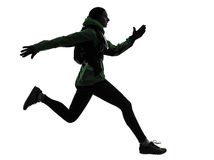 Woman runner running trekking silhouette Royalty Free Stock Images