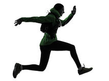 Woman runner running trekking silhouette Royalty Free Stock Photo
