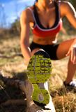 Woman Runner Stretching stock image