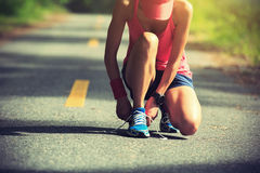 Woman runner tying shoelace on morning tropical forest trail Royalty Free Stock Photos