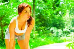 Woman Runner In The Woods Stock Photography