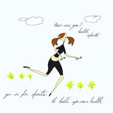 Woman running. Universal template for greeting card, web page, background Stock Photography