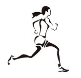 Woman running. Silhouette in simple black lines Stock Image