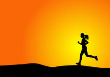 Woman running. Silhouette of a woman running with sunset Stock Images