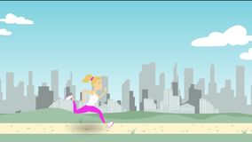 Young woman running along park pathway against city skyline. Cartoon illustration. Woman running along park road against city skyline Royalty Free Stock Image