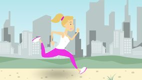 Young woman running along park road in big city. Cartoon illustration. Woman running along park road against city skyline Stock Photography