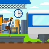 Woman running along the platform. Royalty Free Stock Image