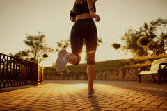 A woman is running along the road in the park. A woman runs along the road in the park in the evening at sunset Royalty Free Stock Photos
