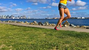 Woman running along urban waterfront, San Diego, California, USA. Female runner running in urban park. Healthy fitness woman jogging outdoors with San Diego city royalty free stock photo
