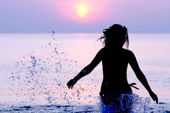Woman running on the Baltic sea Royalty Free Stock Photo