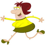 Woman Running Cartoon Character. Funny lady running cartoon character with big nose, fat body, skinny nobbly arms and legs stock illustration