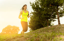 Woman Running In Countryside Royalty Free Stock Images