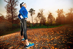 Woman running in the early evening autumn leaves Stock Images