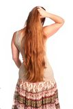 Woman Running Fingers Through Hair royalty free stock photography