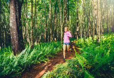 Woman Running on the Forrest trail Royalty Free Stock Photos