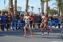 Woman Running Marathon Winner Royalty Free Stock Photos